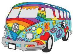 Retro Vintage Beach Bus Hippie Van Design Sticker by kayelex - White Background - Vw Hippie Van, Combi Hippie, Hippie Art, Hippie Chic, Pintura Hippie, Hippie Background, Van Drawing, Vw Caravan, Hippie Painting
