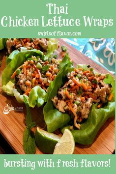 Thai Chicken Lettuce Wraps is an easy ground chicken recipe bursting with the flavors of fresh ginger, garlic and Thai basil.
