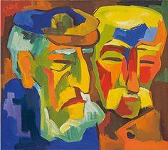 """Karl Schmidt-Rottluff  """"POMMERSCHE BAUERN"""". 1924Oil on canvas.  65 x 72,5 cm (25 5/8 x 28 1/2 in.). Signed."""