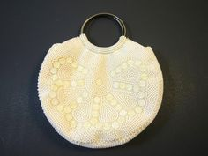 Round White Bead Handbag Mid Century Off White Plastic Bead HandBag  Metal Ring Handles Full Lining 1960's Wrist Handbag https...