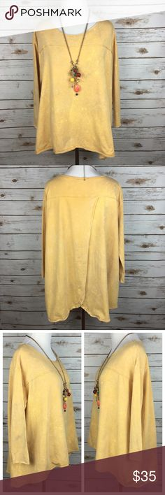 """[PPLA] Custom Bleach & Dye Swing Top Boho Gypsy Soft and stretchy 3/4 sleeve top. Back has an open tulip back. Oversized fit. I have customized by dying and bleaching this top to achieve the look shown. Hand distressed. One of a kind!   Fabric: 96% Cotton 4% Spandex  Bust: 23"""" Length: 24"""" - 28"""" Condition: EUC. Distressed by design.  No Trades! PPLA Tops Blouses"""