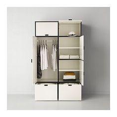 IKEA - ODDA, Roupeiro, , As gavetas inferiores têm rodas e são muito fáceis de deslocar.Dobradiças reguláveis para garantir que a porta fica direita.As dobradiças fecham automaticamente a porta nos últimos momentos, para ter sempre o roupeiro bem fechado.