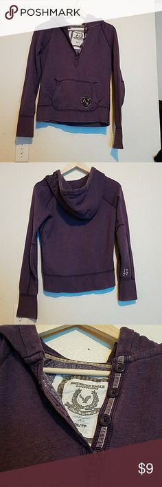 American eagle hoodie I have a dark purple hoodie with buttons by neck really nice hoodie. American Eagle Outfitters Tops Sweatshirts & Hoodies