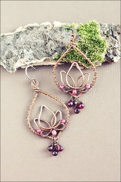Wire wrapped oxidized antiqued hammered copper lotus by SabiKrabi, $59.00