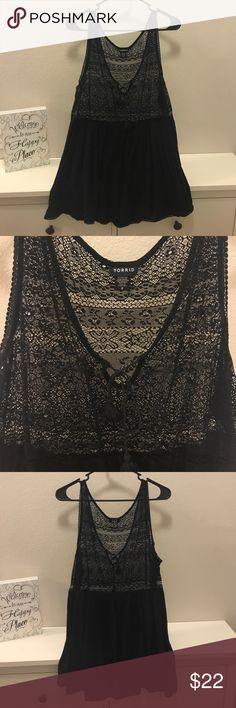 Torrid Crochet Bodice Babydoll Tank Top Worn once! Super cut crocheted bodice babydoll tank top in size 2! Very light weight and great for summer!  🚫Trades/Holds🚫 🚫Will NOT accept lowball offers!🚫 📦Ships same day if PO is open📦 torrid Tops Tank Tops