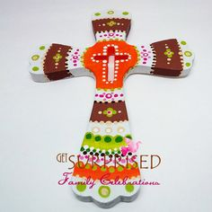 DECORATIVE WOODEN CROSS Orange/Brown/Green by GetSurprised on Etsy