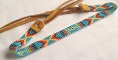 Handmade Native American Beaded Headband, Hairband, Hatband, Boho, Bohemian Style, Turquoise and Medicine Wheel Colours by MadebyWinona on Etsy