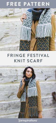Free Knit Fringe FEstival Scarf pattern in Patons Norse yarn. This scarf truly is a Fringe Festival! Abundant fringe is offset by panels worked in garter and mosaic stitch. Knitting Patterns Free, Knit Patterns, Free Knitting, Free Crochet, Knit Crochet, Patons Classic Wool, Knitting Accessories, Garter, Mosaic