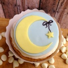 Fondant Cupcake Topper- Crescent Moon with Star - Includes 12 cupcake toppers
