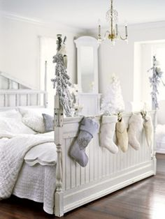 love the colors...or lack thereof...and stockings and trees in a bedroom.  Could we make this bed?