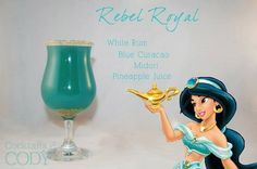 """Rebel Royal"" - white rum, blue curacao, midori, pineapple juice Cocktails by Cody Disney Cocktails, Cocktail Disney, Disney Themed Drinks, Disney Alcoholic Drinks, Disney Mixed Drinks, Drinks Alcohol, Blue Curacao, Party Drinks, Cocktail"