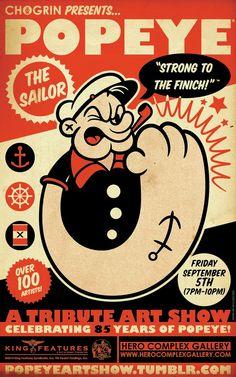 Popeye – A Tribute Art Show - Comics&Movie Posters - Chogrin Popeye Show Poster - Popeye Le Marin, Popeye Cartoon, Popeye The Sailor Man, Cartoon Posters, Movie Posters, Old Cartoons, Arte Pop, Geek Art, Vintage Cartoon