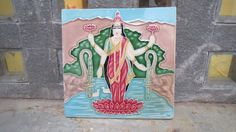 1 Antique 1940's Ceramic Tile depicting Laxmi, the Hindu Goddess of Wealth. Kitchenalia. Bathroom. Decor. Original Genuine Gods Indian Asian by Lallibhai on Etsy