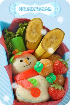 Colorful snowman fruit snack for kids