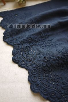 Off White Brown Navy Lace Fabric, Eyelet Border Fabric, Eyelet Embroidery Cotton Linen Lace, Scalloped Edges - yard White Lace Fabric, Embroidered Lace Fabric, Navy Lace, Eyelet Lace, Cotton Lace, Pink Lace, Cotton Fabric, Sari Dress, Kurti Neck Designs