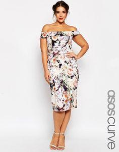 ASOS CURVE WEDDING Bardot Floral Off Shoulder Pencil Dress