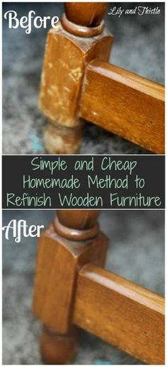 Simple and Cheap Homemade Method to Refinish Wooden Furniture DIY homemade recipe to refinish furnitures. Hitting a good yard sale or flea market and finding great old furniture is such fun. The problem however,. Furniture Projects, Furniture Makeover, Home Projects, Cheap Furniture, Restore Wood Furniture, Refinished Furniture, Furniture Stores, Furniture Websites, Homemade Furniture