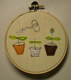 Plants on embroidery loop