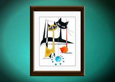 "Atomic Mid Century Modern Cat Print, Retro Art, Eames Style,  Cat Art by Dominic Bourbeau 8""X10"""