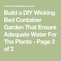Build a DIY Wicking Bed Container Garden That Ensure Adequate Water For The Plants - Page 2 of 2