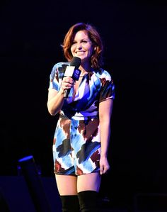 Candace Cameron Bure Photos Photos - This image has been converted to black and white.) Candace Cameron-Bure speaks on stage during the Party 2017 at SAP Center on January 2017 in San Jose, California. - Party 2017 - Show Candice Cameron Bure, Dj Tanner, 80s Party, Hair Today, Role Models, Short Dresses, Rompers, Actresses, Black And White