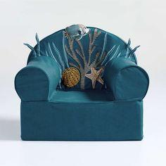 Sea Life Large Nod Chair + Reviews | Crate and Barrel Ocean Bedroom Kids, Ocean Room, Ocean Nursery, Baroque, Cottage Nursery, Curious Kids, Jane Goodall, Fish Swimming, Ocean Themes