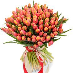 Тюльпаны Букет из 101 тюльпана - цены от Flor2u.ru Tulip Bouquet, Floral Bouquets, Beautiful Flowers Wallpapers, Beautiful Roses, Tulips Flowers, Orange Flowers, Good Morning Flowers, Flower Wallpaper, Beach House Decor