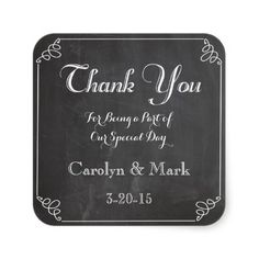 Thank You, Chalkboard Vintage Wedding Favor Labels Square Sticker. A trendy and stylish chalkboard, hand drawn frame style, vintage wedding, 'Thank You' Wedding Favor Labels square stickers design. Feel free to pair with a similar chalked typograp...