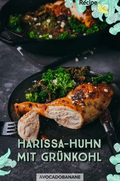 Harissa Huhn mit Grünkohl - AvocadoBanane Harissa, Avocado, Healthy Options, Fruits And Vegetables, Clean Eating Recipes, Whole Food Recipes, Turkey, Diet, Lifestyle