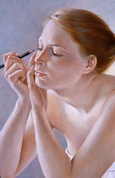"""Préparatifs"" - Francine Van Hove (b. 1942), oil on canvas, 2011 {figurative realism art female eyebrow pencil woman cropped painting}"