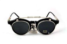 Retro 50s round Flip Up Goth Steampunk unusual Sunglasses Hi Tek ALEXANDER | eBay