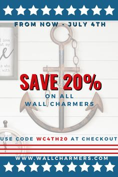 HAPPY 4th OF JULY from Wall Charmers! Decorate your home with unique, one-of-a-kind Wall Charmers! And... SAVE 20% for a limited time!  Visit our website and enter code WC4TH20 at checkout now through July 4th!  EVERYTHING is on SALE!!! Happy Shopping! Rustic Wall Clocks, Rustic Walls, Rustic Wall Decor, Metal Wall Decor, Shabby Chic Decor, Farmhouse Bedroom Decor, Rustic Farmhouse Decor, Bedroom Rustic, Taxidermy Decor