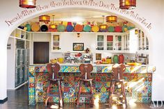 Diane Keaton makes use of colorful tiles in her unique kitchen. Image: Architectural Digest