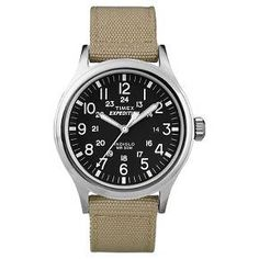 Men's Timex Expedition® Scout Watch with Nylon Strap - Silver/Black/Tan T49962JT : Target
