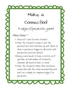 Make a Connection! A subject/Predicate Game ($)