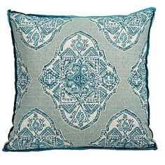 Lacefield Designs presents its Malta Capri Pillow featuring a lovely design pattern in teal hues and a complementary Trevi capri gusset and plasma linen flange for a global style that's exotic and elegant. Add this distinctive, chic throw pillow to any room where a beautiful accent piece can add sophisticated ambiance! *Made in the USA.