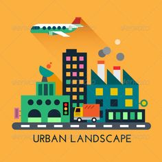 Modern Urban Landscape. Vector Flat Illustration architecture, building, business, car, cartoon, city, ecology, electricity, estate, factory, flat, home, landscape, machinery, modern, office, pipes, plane, plant, pollution, road, skyline, skyscraper, skyscrapers, street, traffic, travel, urban, vector, view, Modern Urban Landscape. Vector Flat Illustration