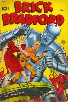 Brick Bradford Comics Poster- Vintage Comic  Book Poster   enlarged & framed giclee print that will never fade with beautiful vibrant colors. Available in various sizes unframed or framed in classic flat matte black wood frame. Great gift for your favorite superhero fan! Vintage Comic Book Poster Framed Wall Art, printed & framed in USA by Museum Outlets.