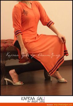 Orange Pakistani kurti