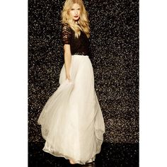 Scoop of Sorbet Cream Tulle Maxi Skirt ($78) ❤ liked on Polyvore featuring skirts, white, long skirts, cream skirt, cream maxi skirt, ankle length white skirt and floor length skirt