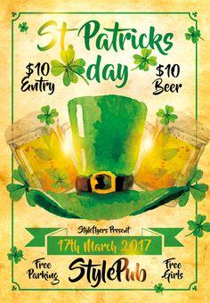 St. Patricks Day Free PSD Flyer Template - http://freepsdflyer.com/st-patricks-day-free-psd-flyer-template/ Enjoy downloading the St. Patricks Day Free PSD Flyer Template created by Styleflyers!   #Bar, #Celebration, #Irish, #Pub, #SaintPatricks, #StPatricks