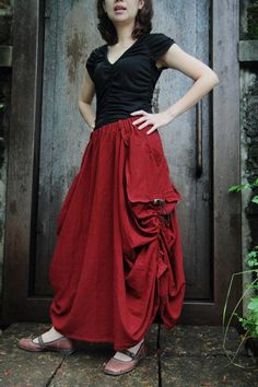 The stunning red apple long skirt with a unique par smileclothing, $45.00