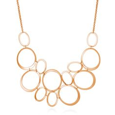 This open oval statement necklace will mirror your fun and flirtatious personality. Made of rose gold-tone brass. Necklace measures 17 inch…
