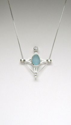 Sea Glass Jewelry  Sterling Baby Blue English Sea by SignetureLine, $95.00