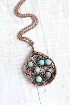 Wire wrap pendant variscite pendant wire by LenaSinelnikArt