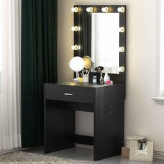 Vanity Makeup Dressing Table Set w/ LED Lighted Huge Mirror Drawer Bedroom Desk Black Makeup Vanity Desk, Make Up Desk Vanity, Bedroom Makeup Vanity, Vanity Table Set, Makeup Table Vanity, Vanity Set With Mirror, Makeup Tables, Makeup Vanities, Huge Mirror