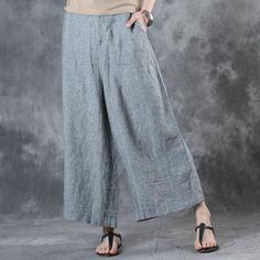 Casual Zipper Pockets Light Gray Stripe Women Wide Leg Pants