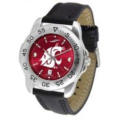 Washington State University Men's Leather Band Sports Watch