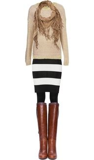 black mini skirt brown boots tights - Google Search~ not a fan of the big stripe but maybe plain black with a different sweater.
