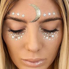 - The hottest trend for music festivals right now are these Metallic Face Embellishments! Bohemian, festival, beach-perfect metallic jewel tattoos for your face! - Pick from 6 sparkly designs.